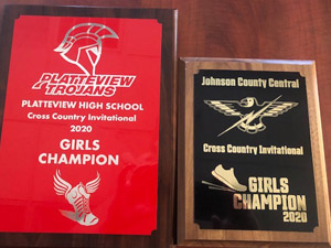 2020 Girls Cross Country Champion plaques