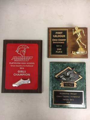 3 Cross country award plaques from 2016