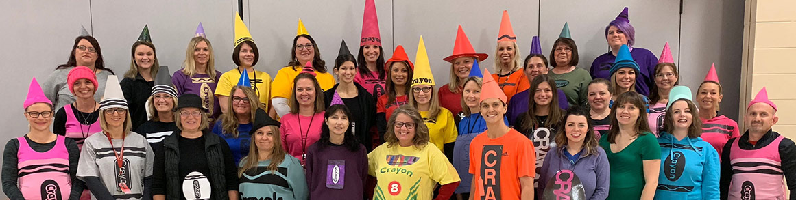 Staff dressed as crayons