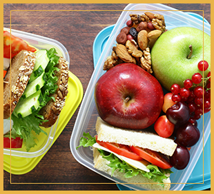 Sandwiches and fruit in a plastic container