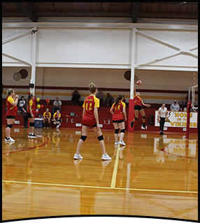 Female volleyball player prepares to hit a volleyball in the gym