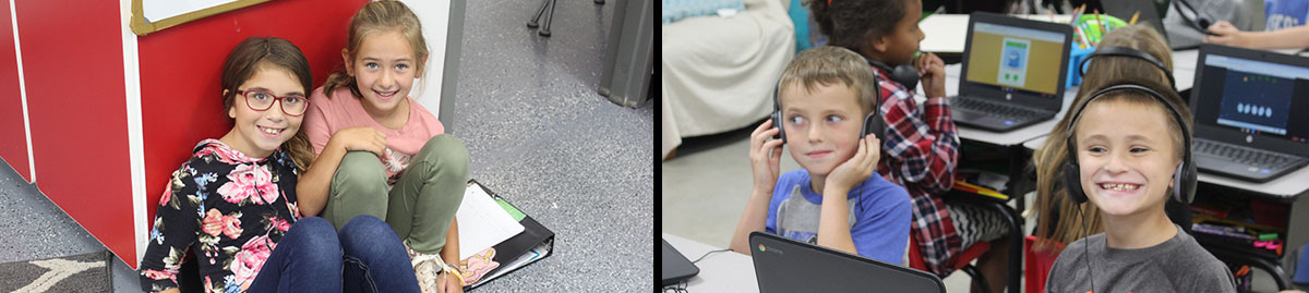 two girls sitting on the floor smiling, two boys at computers with headphones
