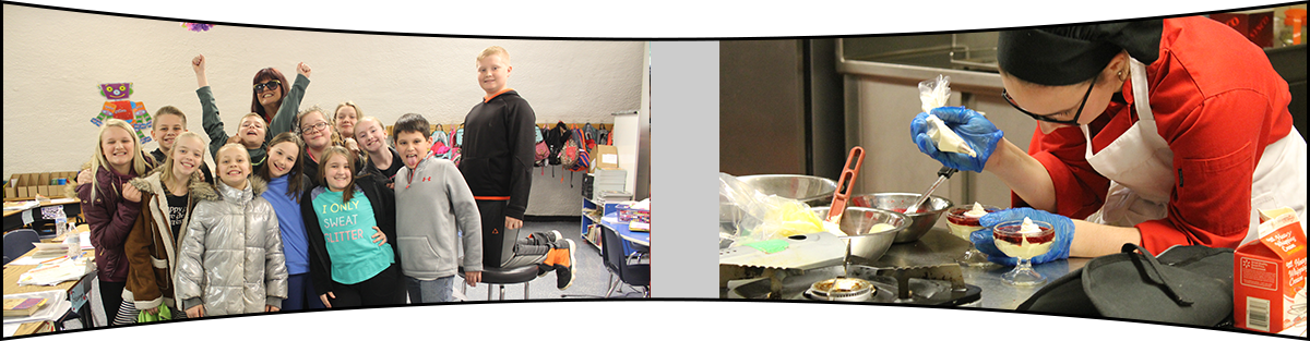 Students in classroom and student preparing food
