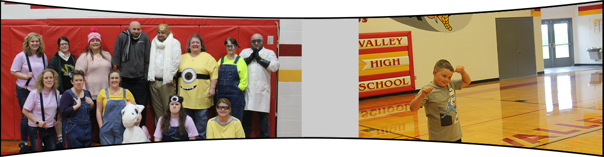 Staff members dressed in Despicable Me costumes and a student standing in the gym