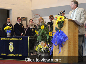 photos from the chartering ceremony of the Valley Caledonia FFA Chapter