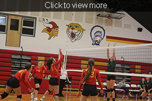 Girl reaches for volleyball