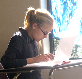 Student using a laptop at her desk