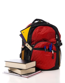 Backpack, books and school supplies