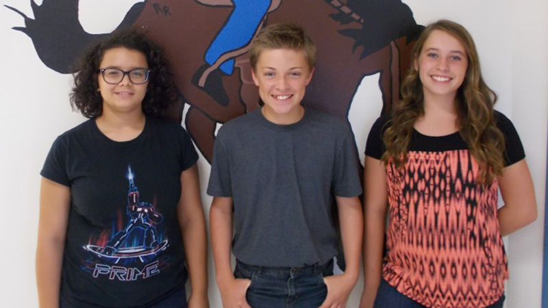 Three Jr High Students Smiling