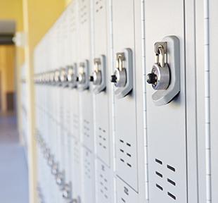 Row of lockers in a school hallway