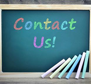 Contact Us written on a blackboard