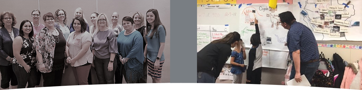 Staff members and GLAD presenters work with children in a classroom