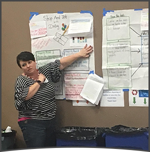 Woman gives presentation with multiple posters on a wall