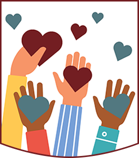 Colorful drawing of employee hands holding hearts