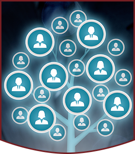 Human Resources concept with employees in bubble tree family