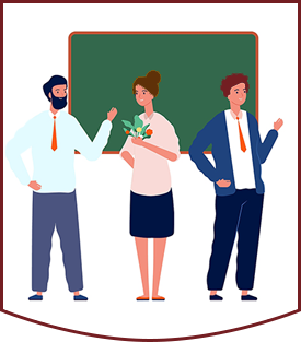 Drawing of three teachers in front of classroom
