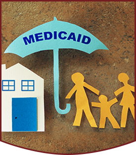Paper cutouts of family, Medicaid umbrella, and home