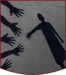 Student shadows reaching out to each other