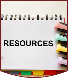 Resources notebook with colorful tabs