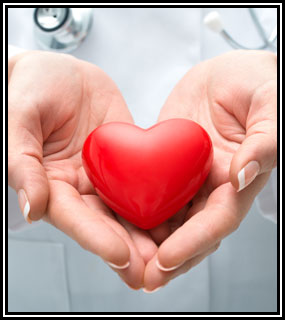 doctor holding heart shaped ball