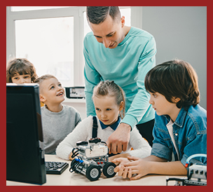 teacher teaching students with robot