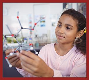student examining a molecule model
