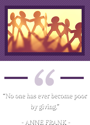 """""""No one has ever become poor by giving."""" -  Anne Frank. Paper doll cutouts holding hands."""