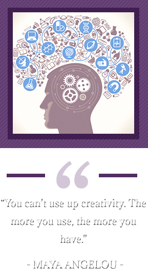 """You can't use up creativity. The more you use, the more you have."" – Maya Angelou. Pictorial of head silhouette."