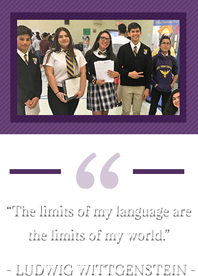 """The limits of my language are the limits of my world."" – Ludwig Wittgenstein. Group of MIT students"