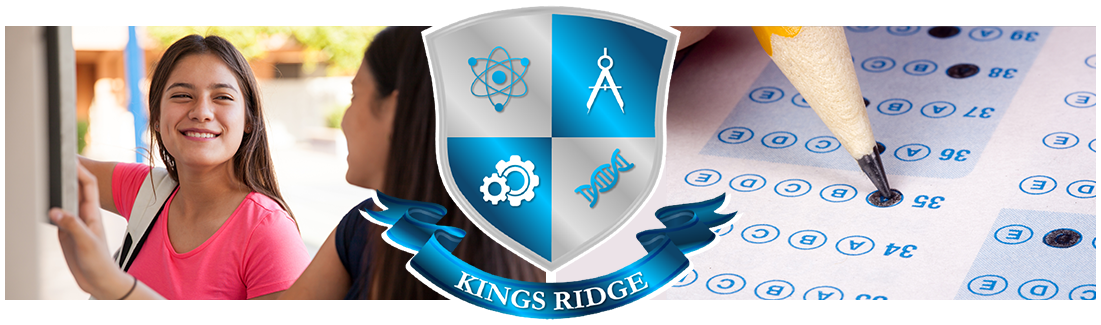 Kings Ridge logo. Student at locker and Pencil marking Scantron test