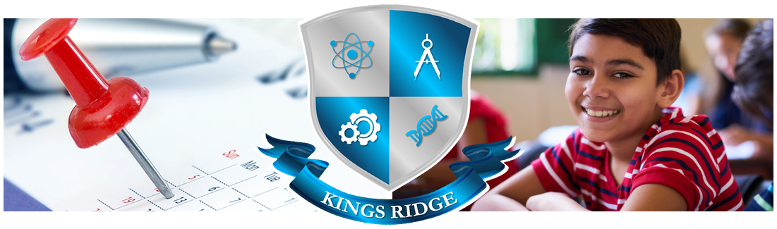 Kings Ridge logo. Pushpin on calendar and smiling student