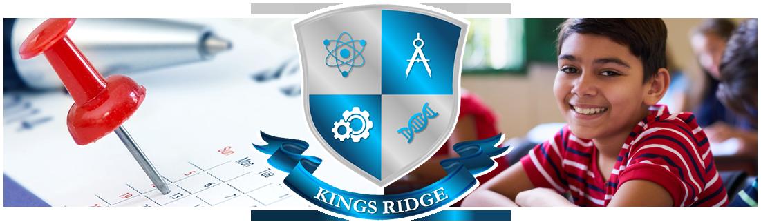 Kings Ridge logo. Pushpin on calendar and smiling student
