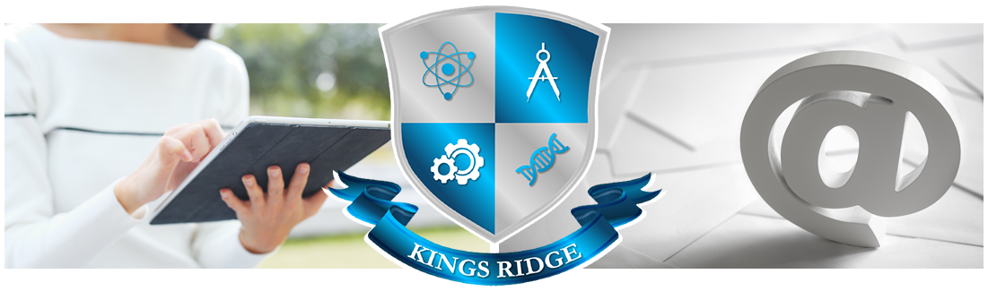 Kings Ridge logo. Woman using tablet and the At symbol