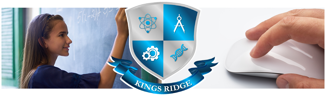 Kings Ridge logo. Student writing on chalkboard and hand on a computer mouse