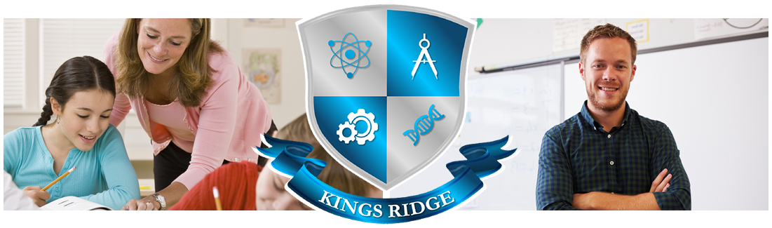 Kings Ridge logo. Classroom of students and closeup of student at desk