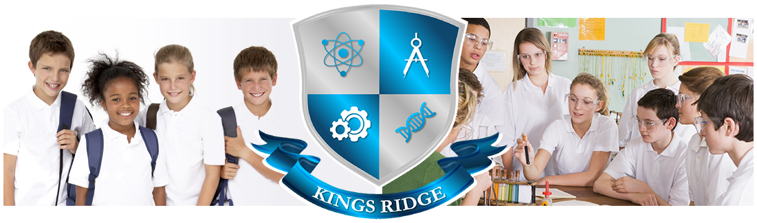 Kings Rigde logo. Classroom of students and smiling student at desk