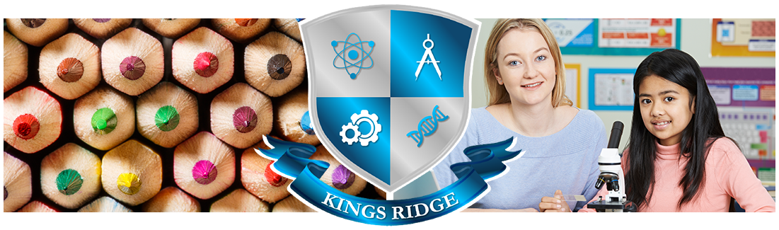 Kings Ridge logo. Colored pencils and teacher and student with microscope
