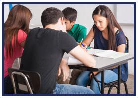 Students work at their desks