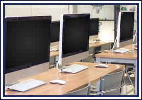 Row of desktop computers