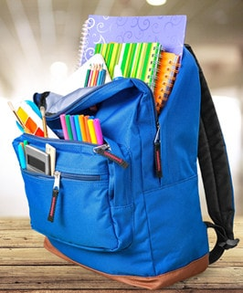 blue backpack filled with school supplies