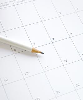 a pencil on a calendar