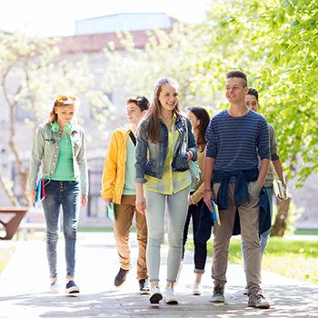 Students walk outside