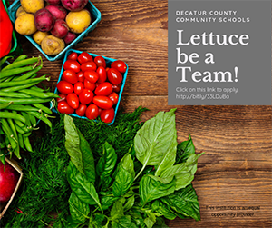 Decatur County Community Schools - Lettuce be a Team! - Click on this link to apply - http://bit.ly/33LDuBa - This institution is an equal opportunity provider.