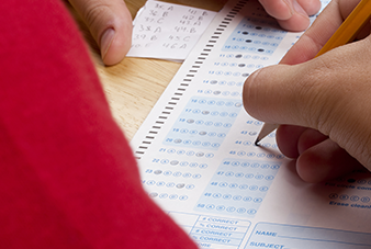 Student filling out standardized test