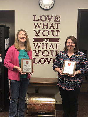 teacher of the year, Nancy Wamsley and support staff of the year, Annie Gault-Moore
