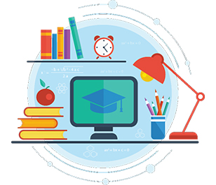 Graphic with computer on desk showing graduation cap