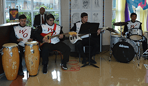 Students play instruments