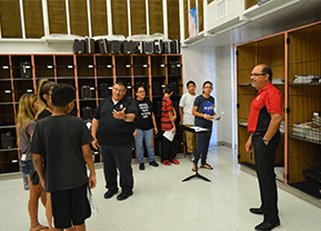 Students talk to band teachers