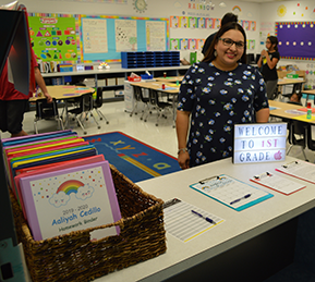 Students with classroom activities at their table