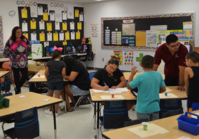 Students and parents in the classroom